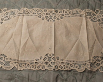Vintage White Battenburg Table Runner With Embroidery Detail