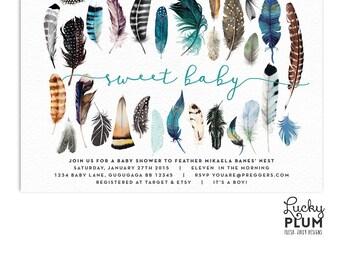 Boho Baby Shower Invitation / Feather Baby Shower Invitation / Let's Feather Her Nest Invitation / Tribal Blue Bohemian