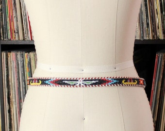 seed bead & leather phoenix belt . womens belts size 32, southwestern skinny belt