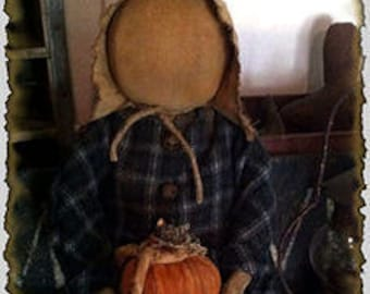 MAILED PAPER PATTERN~Primitive Fall Prairie Doll & Her Stack of Pumpkins, Sewing Pattern