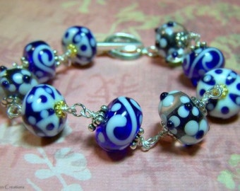 Sterling Silver and Glass Bead Bracelet - Blue , White, Floral Art Glass, Gifts for Her, Dotted, Swirls, Flowers, Flower Blossom/