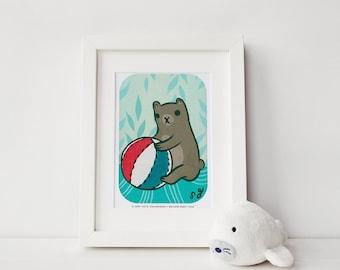 BLACK FRIDAY SALE – animal art prints for nursery, baby bear nursery art print, mr bear illustration, bear nursery decor, little bear cave
