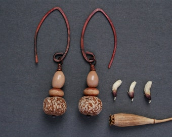 natural drop earrings with mahogany pod beads - rustic jewelry - nature gift