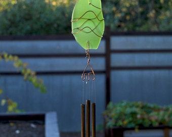 Wind Chime Beach Glass and Copper Sun Catcher with Brass Chimes stained glass sea glass windchimes