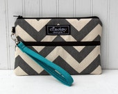 Padded Wristlet Mini Purse- Gray Chevron with Teal