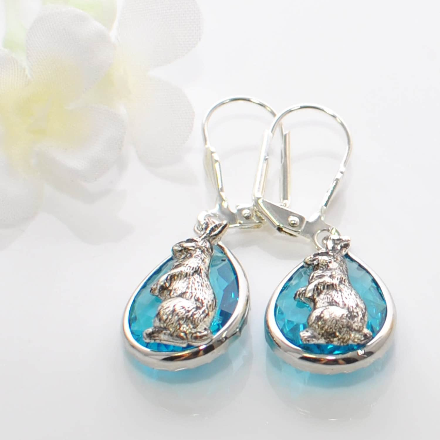 bunny earrings silver bunny earrings bunny blue bunny earrings 3350