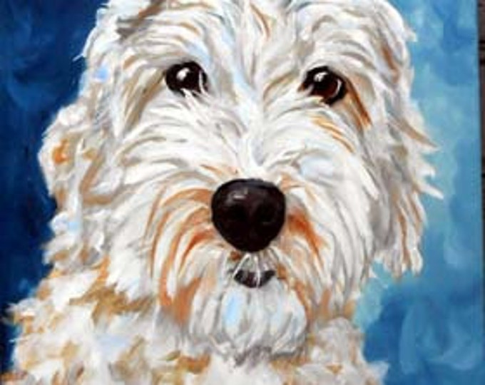 Custom Pet Portrait Painting, Oils on Stretched Canvas, Labradoodle or any breed