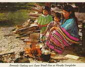 Vintage 1950s Postcard Seminole Band Florida Native American Traditional Cooking Family Photochrome Era Postally Unused