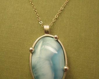 Ocean Larimar pendant in sterling silver oval