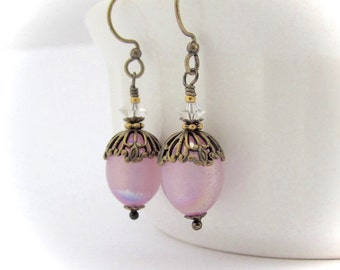 Lilac Earrings, Vintage Lilac AB Moonglow Lucite Beads, Swarovski Crystal Elements, Dangle Drop Earrings, Bride Bridesmaid Wedding, Clip On