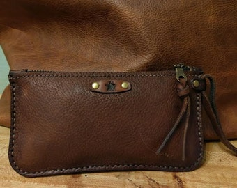 Leather Zipper Wallet / Large Zippered Wallet /  Phone Pouch / Hand Stitched Leather / Large Wallet / Feral Empire