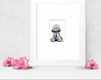 Cute Silver POODLE Dog ACEO Original Art Drawing