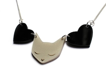 Cat Necklace -  pearl acrylic laser cut necklace platinum pearl pearlised pearlescent black hearts