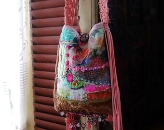 Bohemian Garden Bag, Shoulder Bag, Vintage Velvet, Embroidery, Flowers, Roses, Patchwork, Beaded, Pink, Pretty Bag