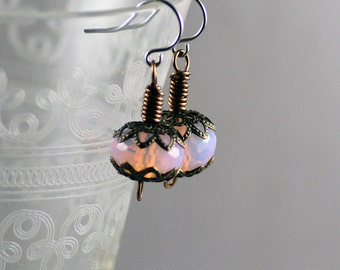 Opalite Pink Faceted Crystal Earrings with Antiqued Brass Filigree Caps and Wire