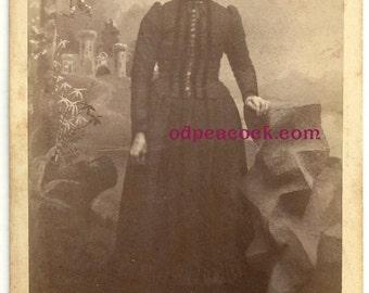 Moody dark gothic castle lady cabinet card vintage photo Victorian fantasy