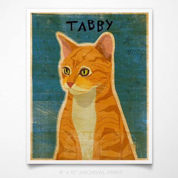 "Ginger Tabby Print 8"" x 10"" Tabby Cat Art Print- Cat Wall Decor- Cat Wall Art- Ginger Tabby Art- Tabby Cat Print- Tabby Cat Gift- Tabby Gift"