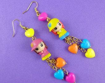 Long Cute Kitsch Earrings - little girls in baseball caps, people earrings, rainbow colours, Harajuku Decora, Squinkies earrings, kawaii!