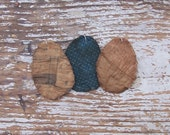 3 Small Egg Ornaments, Drab Colors, Rustic Backyard Chicken Decor, Antique Quilt Eggs, Handmade Tattered Eggs, Blue Faded Red Sage Khaki