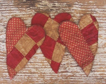 Rustic Heart Ornaments, Primitive Tattered Hearts, Christmas Ornaments, Vintage Quilt Hearts, Red White Polkadots (set of 3) - READY TO SHIP