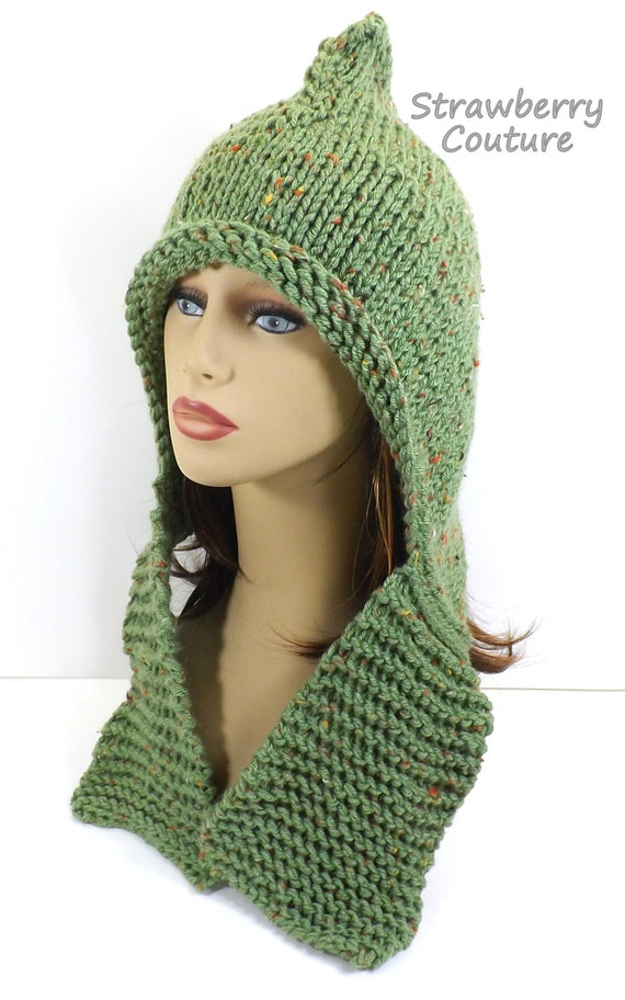 Hooded Scarf Knitting Pattern For Beginners : Knitting Pattern for Beginner Knit Hood by strawberrycouture