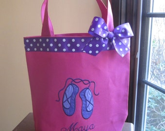 TOTE BAG Dance Tote with Sweet Ballet Slippers WITH Ribbon Trim and Bow