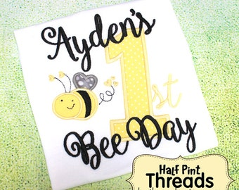 CUSTOM ORDER Personalized First Bee Day First Birthday Personalized Embroidered Applique Tshirt or Bodysuit