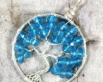 London Blue Mystic Topaz Tree of Life Pendant Silver Wire Wrapped Wire Gemstone Necklace December Birthstone Jewelry Natural Beachy Style