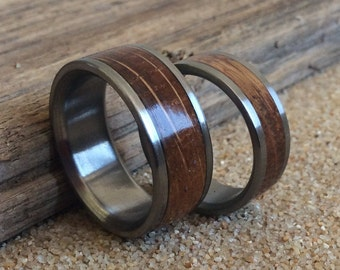 Titanium Rings, Wood Rings, Wedding Rings, Charred Oak Whiskey Barrel Ring, Mens Ring, Womens Ring, Handmade Ring, Mens Wedding Ring