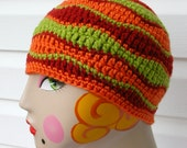 Wavy Beanie Retro Colors Stripe Crochet Hat