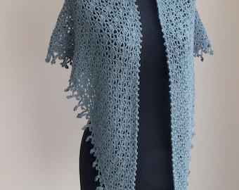 Custom Made Crochet Lace Shawl Scarf Wrap Cowl, Stylish Comfort Prayer Meditation, Soft Grey Green, Baby Alpaca, FREE SHIPPING