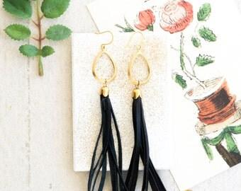 Black Leather Tassel Dangle Earrings, Long Tassel Earrings, Leather Earrings