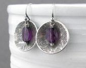 Amethyst Earrings Purple Crystal Earrings Dangle Silver Drop Earrings Purple Earrings Modern Jewelry Bohemian Jewelry - Contrast