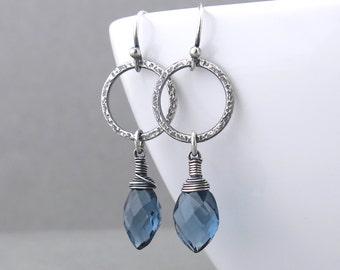 Denim Blue Earrings Silver Drop Earrings Silver Hoop Earrings Modern Jewelry Wire Wrapped Earrings Gift for Women - Annabelle