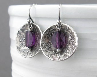 Amethyst Earrings Purple Crystal Earrings Dangle Silver Drop Earrings Purple Earrings Modern Jewelry Bohemian Jewelry - Contrast