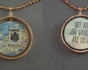 Copper and Resin Double Sided Pendant Travel Not All Who Wander Map
