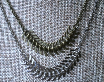 Spine Chain Necklace in Your Choice of Bronze or Silver / Fishbone Necklace / Mens Necklace / Mens Jewelry