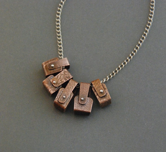 ON SALE!! 45% off Pinned Copper Boxes Necklace