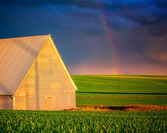 Palouse Photography, Rainbow Photo, Barn, Eastern Washington, Rural Landscape, Agriculture, Storm photos, Weather, Nature, Palouse Fine Art