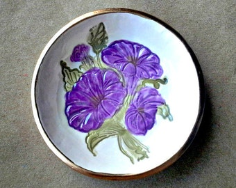 Ceramic Ring Bowl Trinket bowl Morning Glory Gold edged