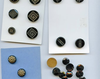 Victorian Black Glass Buttons Matching Sets (24) Total Vintage Vintage Glass Buttons Art Deco 1931