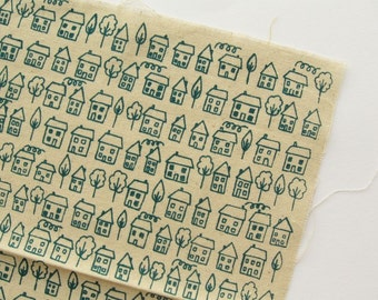 Avenue - Teal - Hand Screenprinted Fabric - Summersville - 9.5 x 14 inches - Houses - Destash