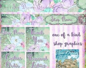 touch of spring floral Etsy shop Banner graphics set by Sea Dream Studio  OOAK