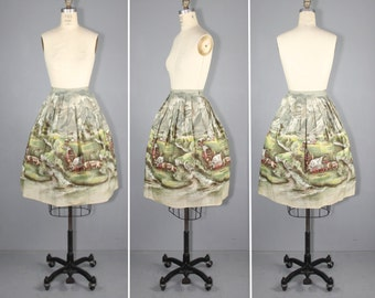 novelty skirt / 1950s / conversation print / OREGON TRAIL vintage skirt