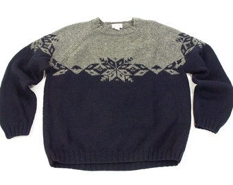 90s J. Crew Fair Isle Sweater / Vintage 1990s Hand Knit Fisherman Pullover in Navy Blue & Grey / Hand Knit Wool / Extra Large