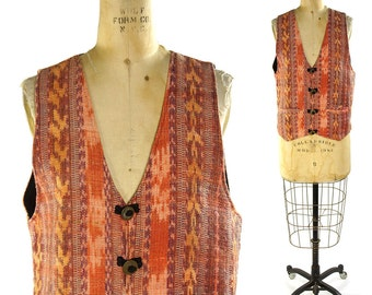 Southwestern Vest / Vintage 1990s Woven Mexican Cotton Vest with Ethnic Ikat Pattern in Pastels / Hippie Boho Vest with Coin Buttons