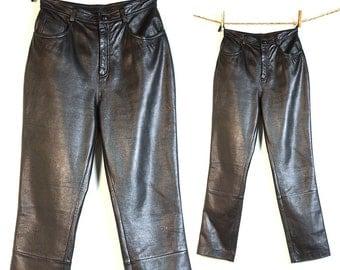 Black Leather Pants / Vintage 1980s High Waist Genuine Leather Pants by Cripple Creek / Medium