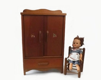 Vintage Wooden Doll Armoire, Toy Wardrobe Furniture Cabinet