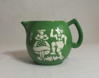 Small Czech Milk Pitcher, Vintage Czechoslovakian Pottery Large Green Creamer, Alpine Dancers Stencil, Folk Art Kitchen Decor