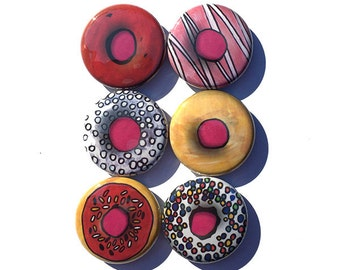 Donut Magnets or Donut Pinback Buttons - Cute Magnet Set - Cute Pin Set - Food Magnets or Food Pins - Bakery Fridge Magnet, Party Favor Gift